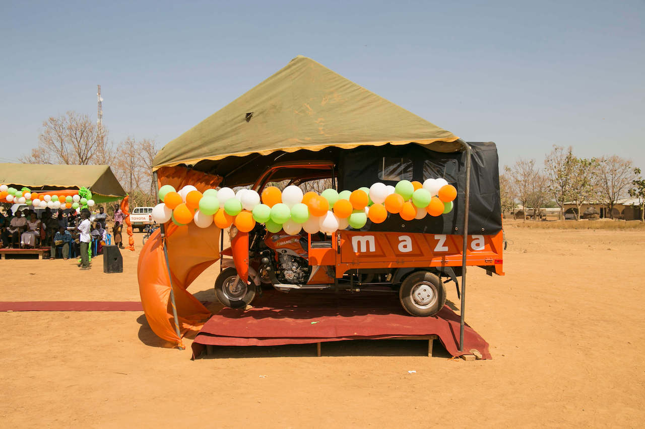 MAZA vehicle decorated for launch-web